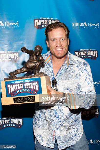 All Star Hockey player Jeremy Roenick attends the SIRIUS XM Radio celebrity fantasy football draft at Hard Rock Cafe Times Square on July 21 2010 in...