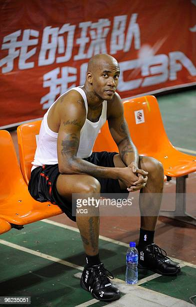 NBA All Star point guard Stephon Marbury takes training after signing with Shanxi Zhongyu of CBA on January 28 2010 in Taiyuan Shanxi province of...