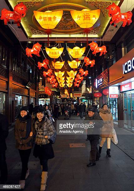All streets are lightened and the shopping malls are decorated as Chinese people celebrate the Lantern Festival end of Chinese Lunar New Year...