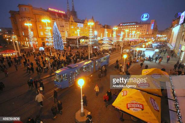 All streets light up ahead of Christmas and New Year's Eve to cheer up the atmosphere on December 18 2013 in the capital of Croatia Zagreb