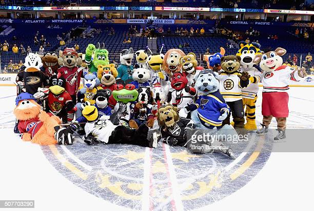 All team mascots pose for Atlantic Division AllStars group picture after competing in the Mascot Game 2016 before the 2016 Honda NHL AllStar Skill...