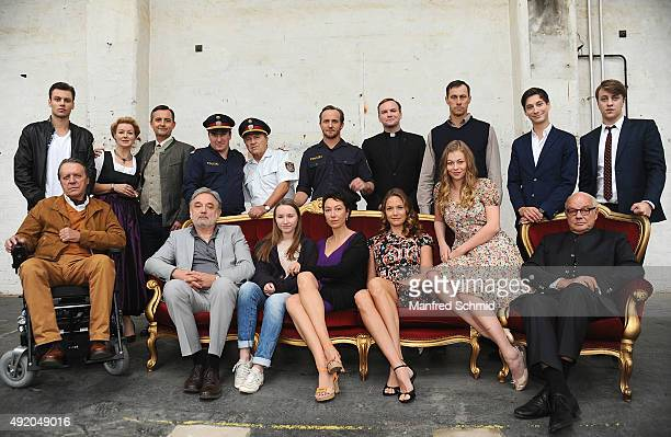All the actors of the film 'Pregau' pose at Sargfabrik on October 9 2015 in Vienna Austria