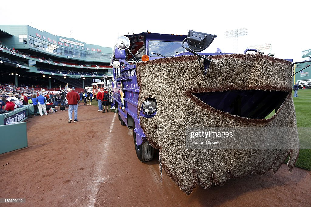 All the duck boats wore beards for the parade in support of the players wearing beards this season. The Red Sox Rolling Rally started at Fenway Park and paraded around Boston after the Boston Red Sox won the 2013 World Series, on Saturday, Nov. 2, 2013.