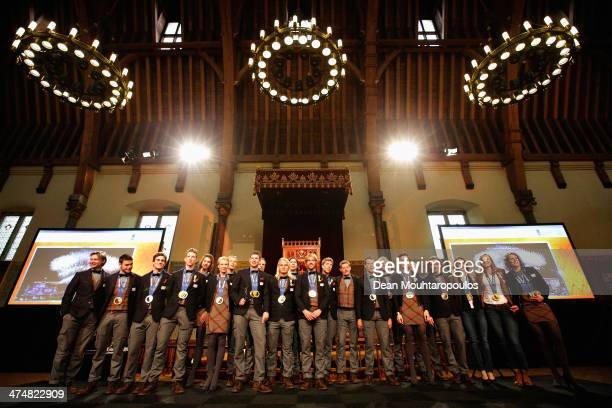 All the Dutch medalist pose on the stage during the Welcome Home Reception Held For Dutch Winter Olympic Medalists held at the Ridderzaal on February...