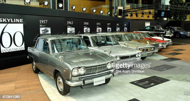 All the edition of Nissan Motor Co's 'Skyline' line up during the 'Skyline Timeline' press preview at Roppongi Hills on April 20 2017 in Tokyo Japan