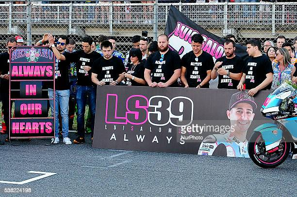 All the Paddock reunited in memory of Luis Salom after his dead in the Moto2 crash in the Free Practice during GP Monster Energy of Catalonia June 5...