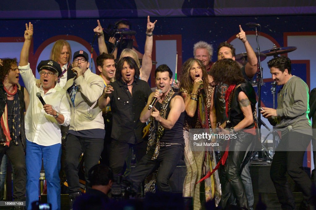 All the performers gather on stage at the end of the evening's performance performs during the Boston Strong: An Evening Of Support And Celebration, including Jimmy Buffet, Doug Flutie, James Taylor, <a gi-track='captionPersonalityLinkClicked' href=/galleries/search?phrase=Steven+Tyler+-+Musician&family=editorial&specificpeople=202080 ng-click='$event.stopPropagation()'>Steven Tyler</a>, <a gi-track='captionPersonalityLinkClicked' href=/galleries/search?phrase=Donnie+Wahlberg&family=editorial&specificpeople=220537 ng-click='$event.stopPropagation()'>Donnie Wahlberg</a>, <a gi-track='captionPersonalityLinkClicked' href=/galleries/search?phrase=Steven+Tyler+-+Musician&family=editorial&specificpeople=202080 ng-click='$event.stopPropagation()'>Steven Tyler</a>, J. Geils Band, New Kids on the Block, Boston and Extreme at TD Garden on May 30, 2013 in Boston, Massachusetts.
