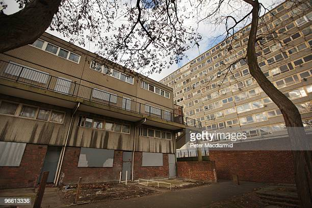 All the properties of a tower block are boarded up on the Heygate housing estate near Elephant and Castle on February 11 2010 in London England The...