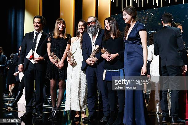 All the winners pose on stage during The Cesar Film Award 2016 at Theatre du Chatelet on February 26 2016 in Paris France