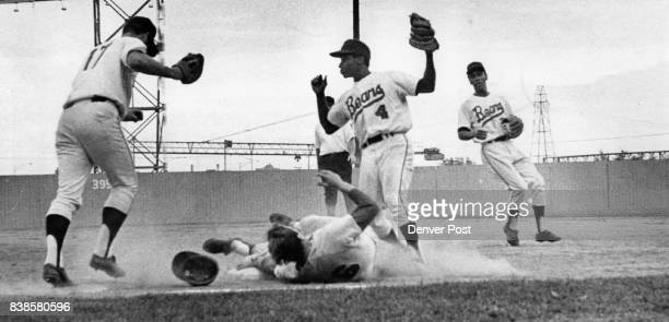 All This Commotion Resulted in a Tulsa BooBoo Randy Bobb of Tulsa lies near firs base but is called out after he was involved in a rundown between...