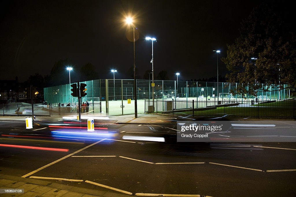 All weather football pitch in a city : Stock Photo