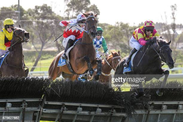All Well ridden by Jamie Mott jumps a hurdle on the way to winning the George Taylor Memorial Maiden Hurdle at Warrnambool Racecourse on May 02 2017...