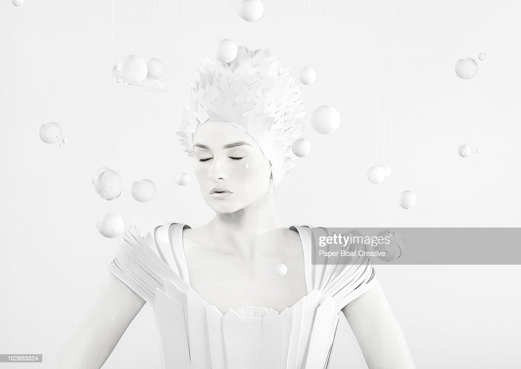 All white woman in the center of planets : Foto de stock