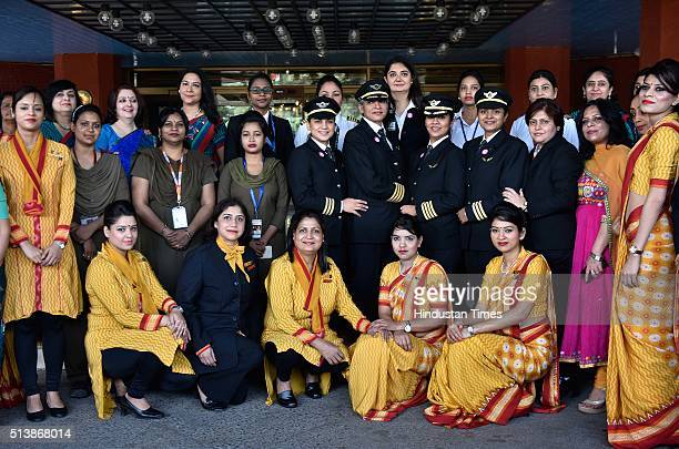 All Women Crew members of Air India's historic flight AI 173 during a function to celebrate a 'Historic' New DelhiSan Francisco flight with allwomen...