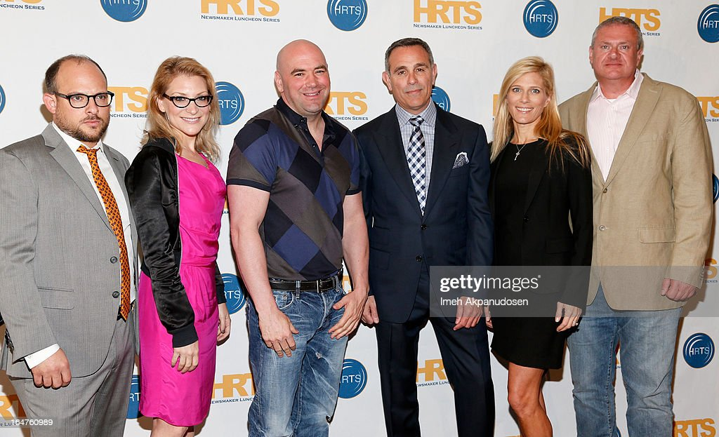 All3Media America President Eli Holzman, journalist Melissa Grego, Ultimate Fighting Championship mixed martial arts organization President Dana White, Pilgrim Studios CEO/President Craig Piligian, Gurney Prodcutions Co-Founder/Executive Producer Deirdre Gurney, and Original Productions CEO/Executive Producer Philip D. Segal attend the HRTS 'Non-Scripted Hitmakers' Luncheon Panel at The Beverly Hilton Hotel on March 27, 2013 in Beverly Hills, California.