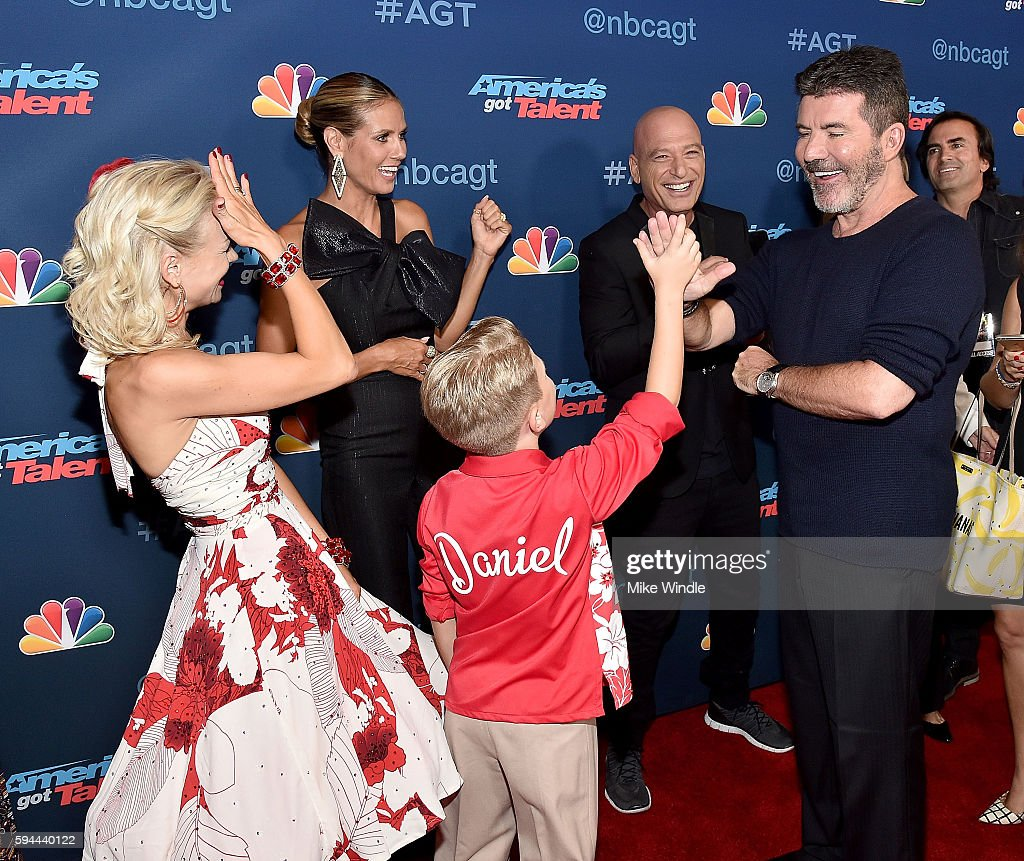 Alla & Daniel, Heidi Klum, Howie Mandel and Simon Cowell attend the 'America's Got Talent' Season 11 Live Show at Dolby Theatre on August 23, 2016 in Hollywood, California.