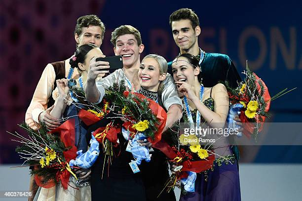 Alla Loboda and Pavel Drozd of Russia Anna Yanovskaya and Sergey Mozgov of Russia and Betina Popova and Yuri Vlasenko of Russia make a selfie during...