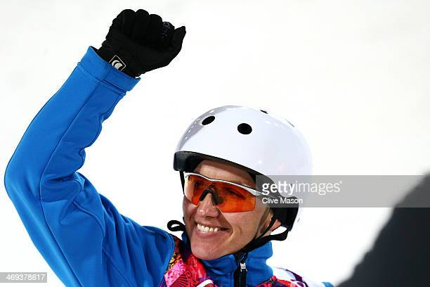 Alla Tsuper of Belarus celebrates after her run in the Freestyle Skiing Ladies' Aerials Finals on day seven of the Sochi 2014 Winter Olympics at Rosa...