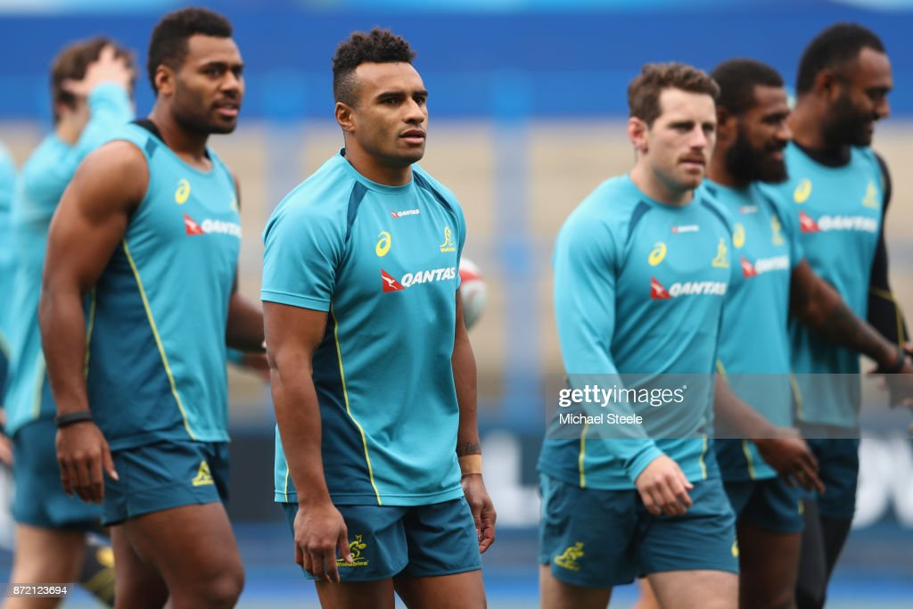 Allan Alaalat (L), Will Genia (C) and Bernard Foley (R) during the Australia training session at Cardiff Arms Park on November 9, 2017 in Cardiff, Wales.