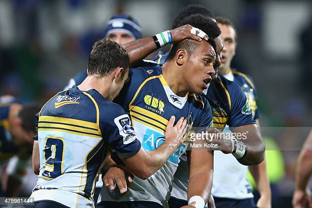 Allan Alaalatoa of the Brumbies celebrates with his team mates after scoring a try during the round 17 Super Rugby match between the Western Force...
