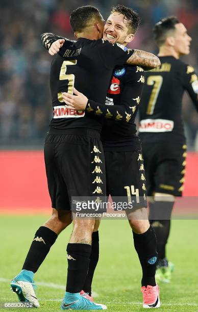 Allan and Dries Mertens of SSC Napoli celebrate the 20 goal scored by Allan during the Serie A match between SSC Napoli and Udinese Calcio at Stadio...