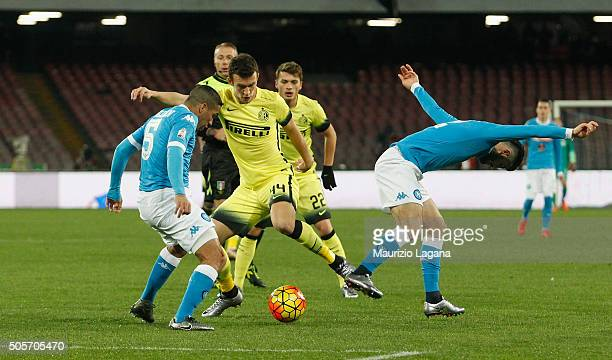 Allan and Elseid Hysaj of Napoli competes for the ball with Ivan Perisic of Inter during the TIM Cup match between SSC Napoli and FC Internazionale...