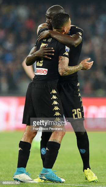 Allan and Kalidou Koulibaly of SSC Napoli celebrate the 20 goal scored by Allan during the Serie A match between SSC Napoli and Udinese Calcio at...