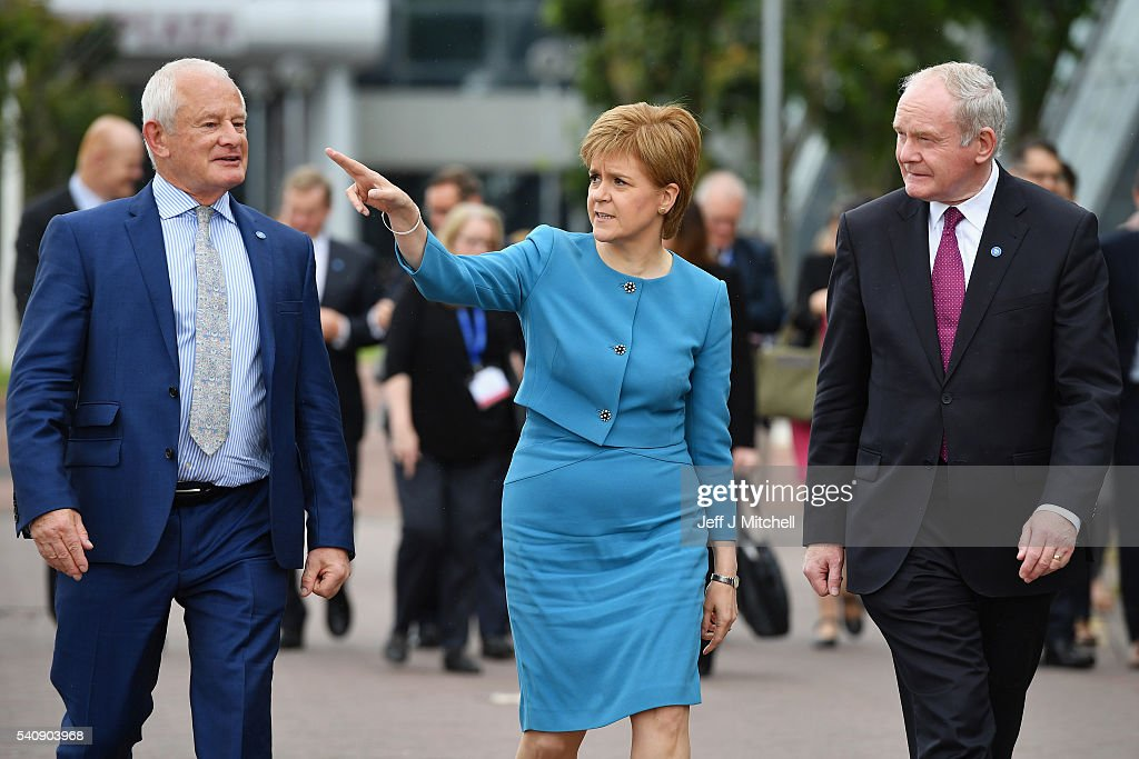 Allan Bell Chief Minister Isle of Man Government, Nicola Sturgeon the First Minister of Scotland, Martin McGuinness deputy First Minister of Northern Ireland, walk from the British Irish council meeting on June 17, 2016 in Glasgow, Scotland.The 26th meeting of the British-Irish Council members gathered in The Crown Plaza Hotel to discuss issues surrounding social inclusion, the summit is being held with less than a week to go until the UKs membership of the European Union is decided.