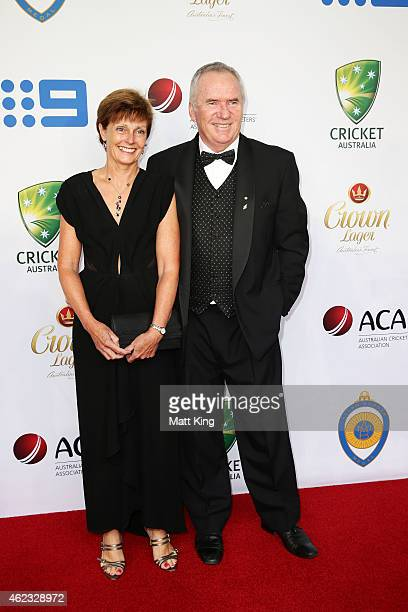 Allan Border and his wife Jane Hiscox arrive ahead of the 2015 Allan Border Medal at Carriageworks on January 27 2015 in Sydney Australia