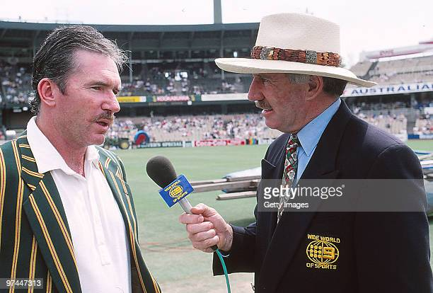 Allan Border of Australia being interviewed by Ian Chappell before a Test match in Australia