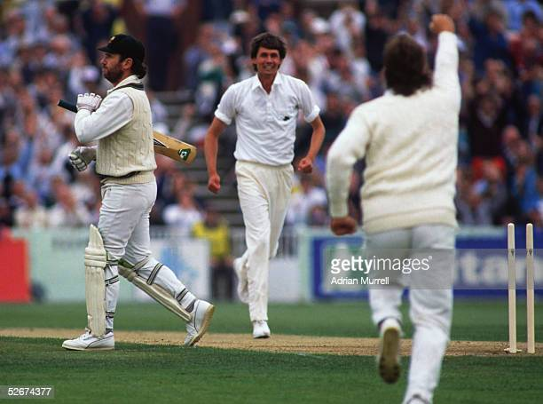 Allan Border of Australia is bowled by Neil Foster of England during the One Day International between England and Australia held on May 25 1989 at...