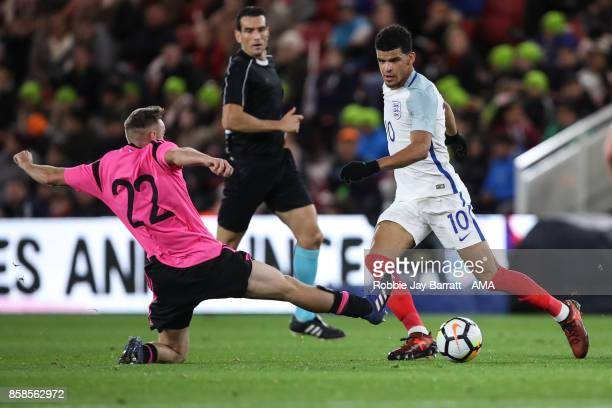 Allan Campbell of Scotland U21 and Dominic Solanke of England U21 during the UEFA European Under 21 Championship Qualifiers fixture between England...