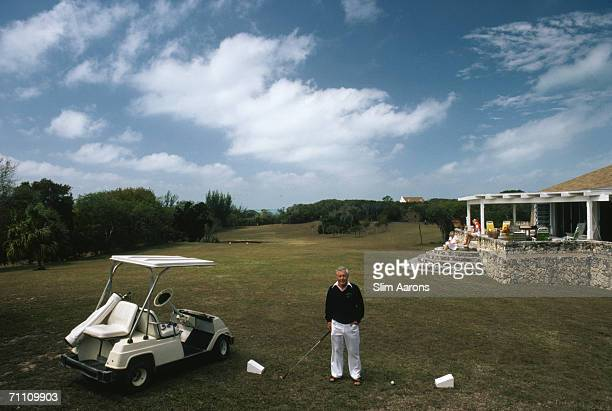Allan Charlesworth owner and founder of the Green Turtle Yacht Club on his private golf course on the Abaco Islands of the Bahamas March 1986