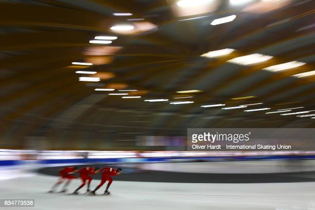 Allan Dahl Johansson Marius Bratli and Magnus Bakken Haugli of Norway competes in the Team Pursuit Men Jun race during the ISU Junior World Cup Speed...