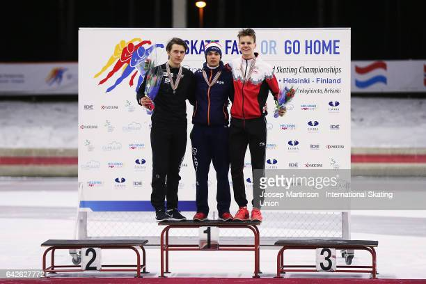 Allan Dahl Johansson of Norway Chris Huizinga of Netherlands and Tyson Langelaar of Canada pose in the overall classification medal ceremony during...