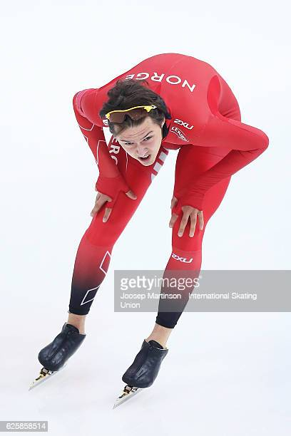Allan Dahl Johansson of Norway competes in Junior Men's 1000m during day one of ISU Junior World Cup Speed Skating at Minsk Arena on November 26 2016...