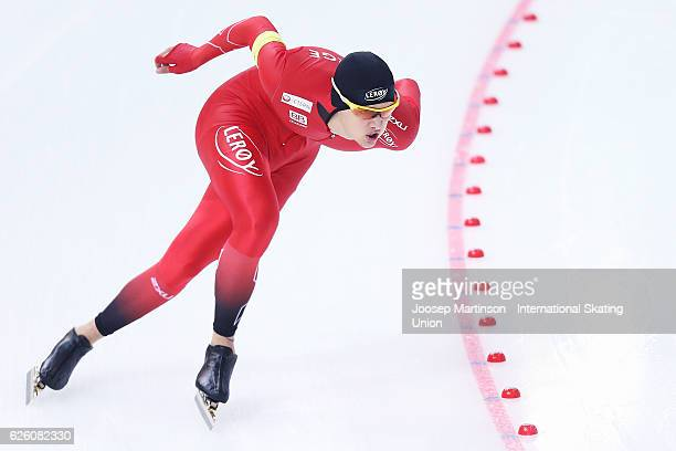 Allan Dahl Johansson of Norway competes in Men's 1500m during day two of ISU Junior World Cup Speed Skating at Minsk Arena on November 27 2016 in...