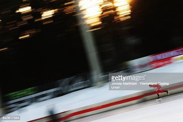 Allan Dahl Johansson of Norway competes in men's 5000m during day two of the World Junior Speed Skating Championships at Oulunkyla Sports Park on...