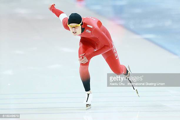 Allan Dahl Johansson of Norway competes in the Men 1000m on day one of the ISU Junior Speed Skating Championships 2016 at the Jilin Speed Skating...