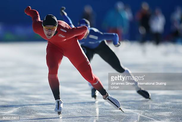 Allan Dahl Johansson of Norway competes in the men 1500 m heats during day 1 of ISU speed skating junior world cup at ice rink Pine stadium on...