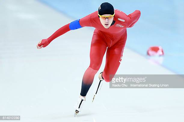 Allan Dahl Johansson of Norway competes in the Men 3000m on day two of the ISU Junior World Cup speed skating event at the Jilin Provincial Speed...