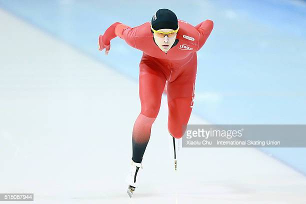 Allan Dahl Johansson of Norway competes in the Men 5000m on day one of the ISU Junior Speed Skating Championships 2016 at the Jilin Speed Skating...