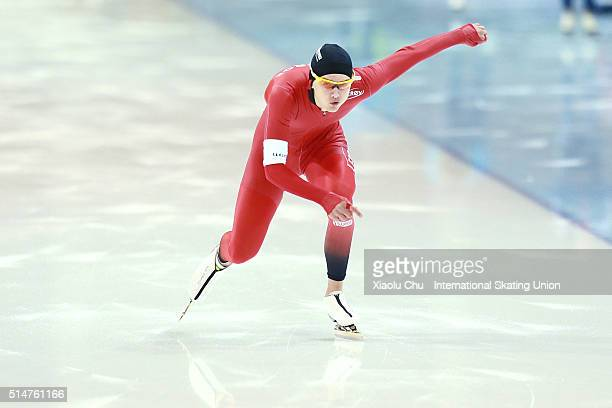 Allan Dahl Johansson of Norway competes in the Men 500m on day one of the ISU Junior Speed Skating Championships 2016 at the Jilin Speed Skating OVAL...