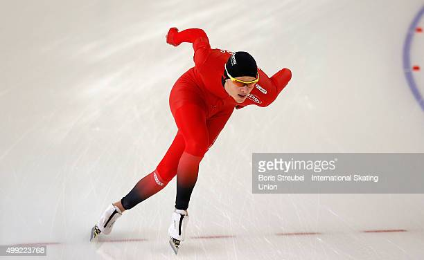 Allan Dahl Johansson of Norway competes in the men's 1500m race during day two of the ISU Junior World Cup Speed Skating at Sportforum...