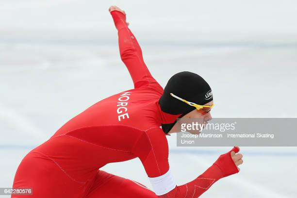 Allan Dahl Johansson of Norway competes in the Men's 500m during day one of the World Junior Speed Skating Championships at Oulunkyla Sport Park on...