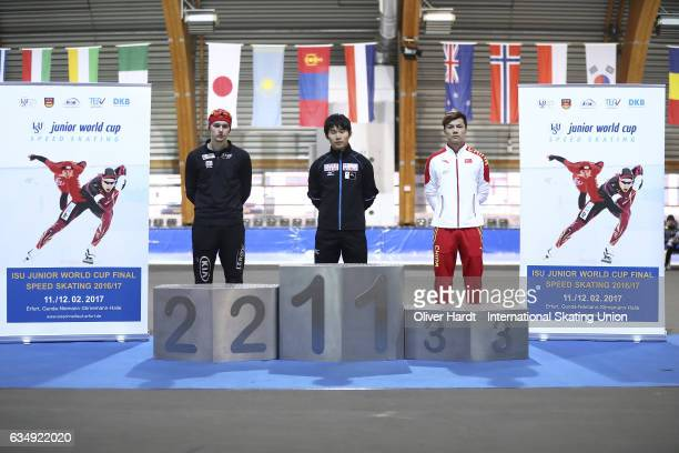 Allan Dahl Johansson of Norway with the second place Koki Kubo of Japan with the first place and Yanan Jin of China with the third place celebrate...