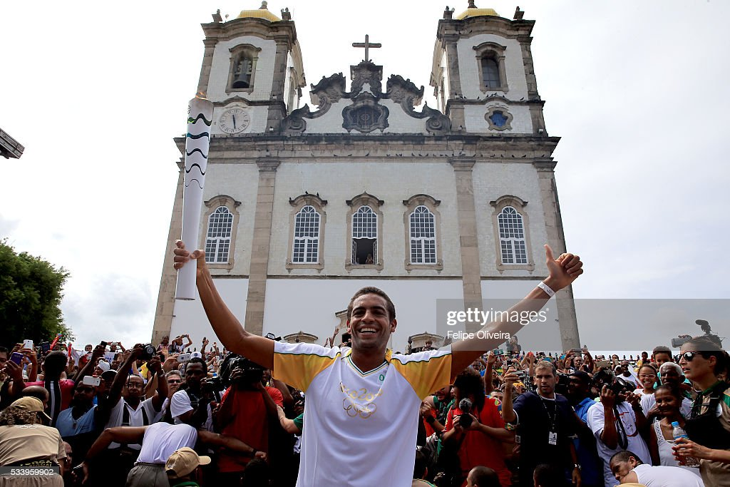 Allan do Carmo of Brazil, aquatic marathon athlete, on May 24, 2016 in Salvador, Brazil.