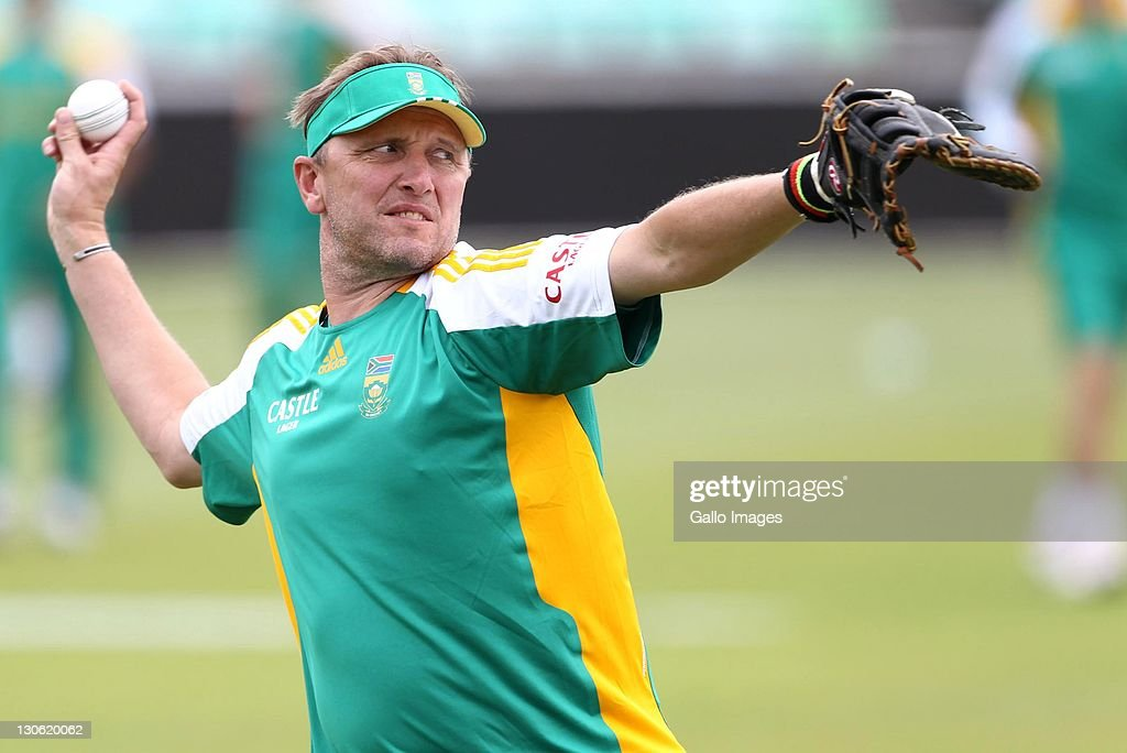 <a gi-track='captionPersonalityLinkClicked' href=/galleries/search?phrase=Allan+Donald&family=editorial&specificpeople=2185652 ng-click='$event.stopPropagation()'>Allan Donald</a> in action during a nets session ahead of the 3rd One Day International against Australia at Sahara Stadium Kingsmead on October 27, 2011 in Durban, South Africa.
