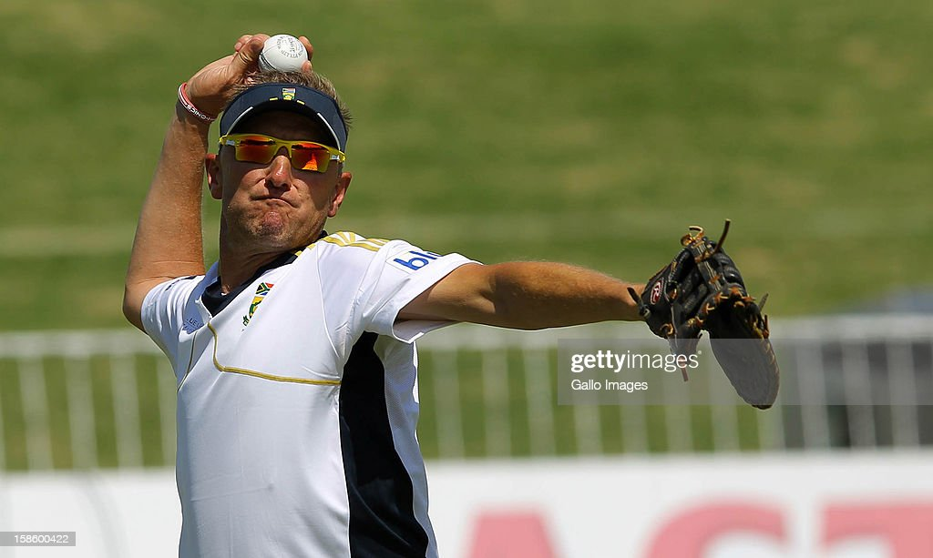 <a gi-track='captionPersonalityLinkClicked' href=/galleries/search?phrase=Allan+Donald&family=editorial&specificpeople=2185652 ng-click='$event.stopPropagation()'>Allan Donald</a> in action during the South Africa nets session from Sahara Park Kingsmead on December 20, 2012 in Durban, South Africa