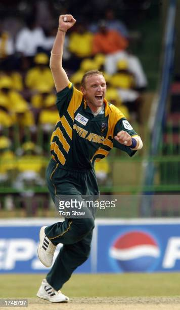 Allan Donald of South Africa celebrates the wicket of VVS Laxman of India during the ICC Champions Trophy semifinal match between India and South...
